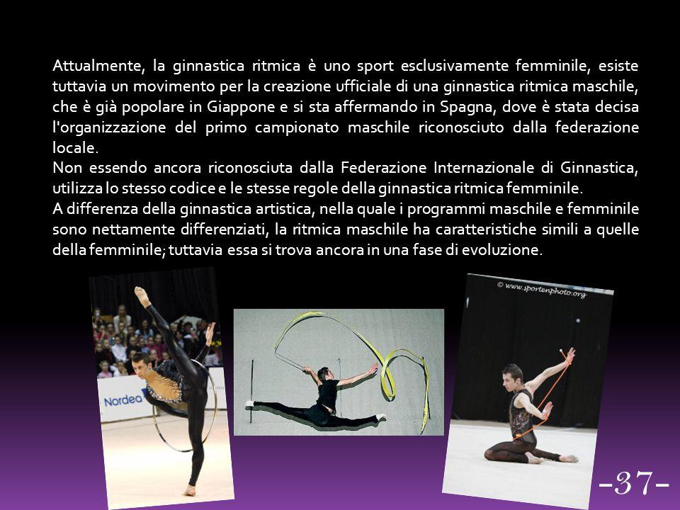 Attualmente, la ginnastica ritmica è uno sport esclusivamente femminile, esiste tuttavia un movimento per la creazione ufficiale di una ginnastica ritmica maschile, che è già popolare in Giappone e si sta affermando in Spagna, dove è stata decisa l organizzazione del primo campionato maschile riconosciuto dalla federazione locale.