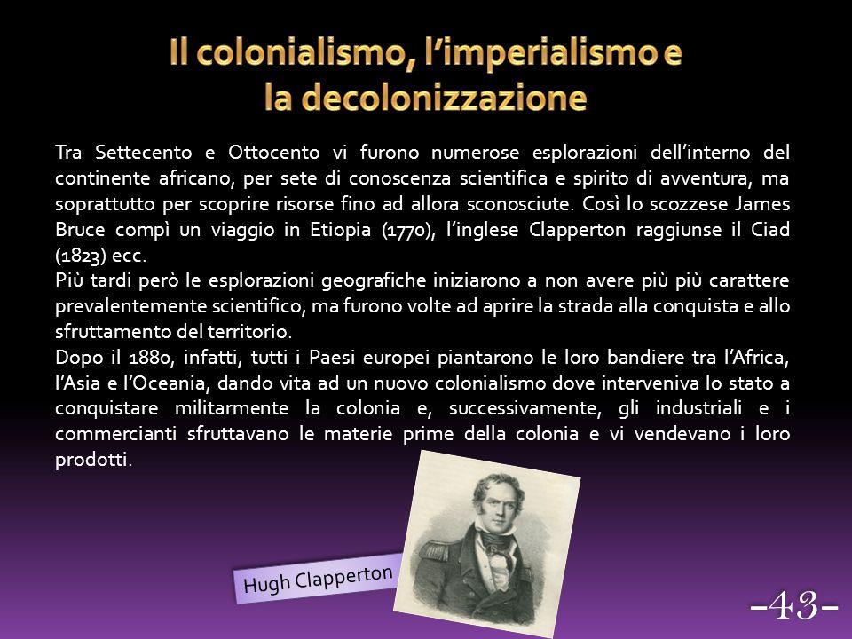 Il colonialismo, l'imperialismo e