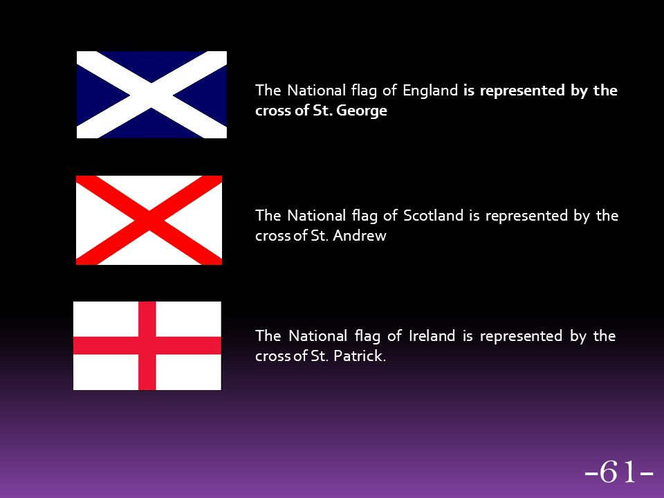 The National flag of England is represented by the cross of St. George