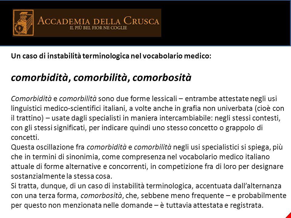 Un caso di instabilità terminologica nel vocabolario medico: