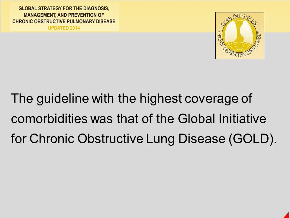 The guideline with the highest coverage of comorbidities was that of the Global Initiative for Chronic Obstructive Lung Disease (GOLD).