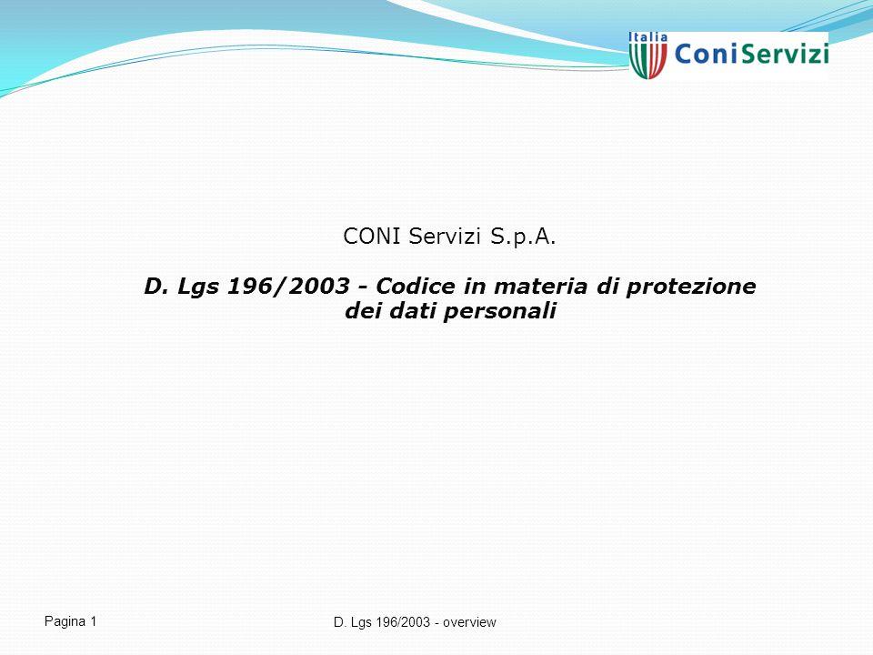 CONI Servizi S.p.A. D. Lgs 196/2003 - Codice in materia di protezione dei dati personali