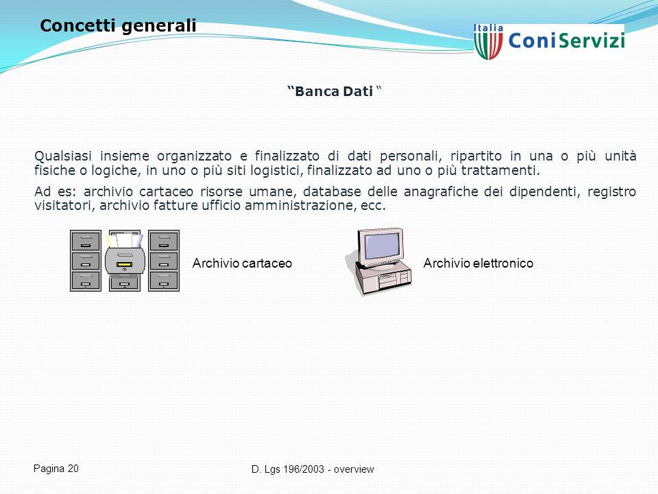 Concetti generali Banca Dati