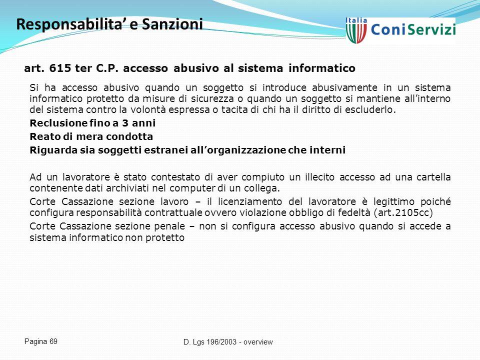 art. 615 ter C.P. accesso abusivo al sistema informatico