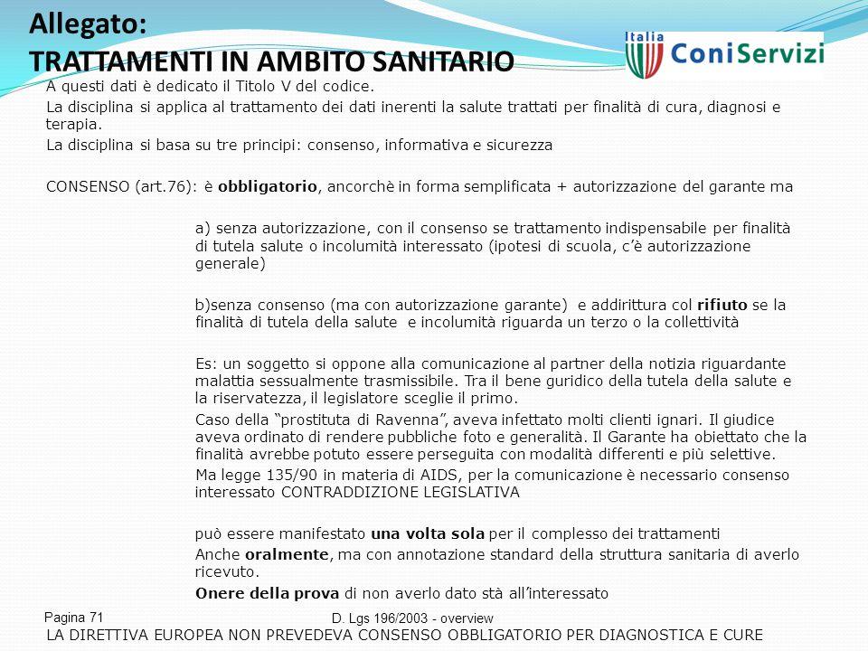 Allegato: TRATTAMENTI IN AMBITO SANITARIO
