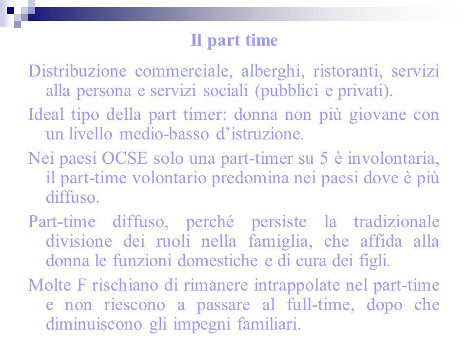 Il part time Distribuzione commerciale, alberghi, ristoranti, servizi alla persona e servizi sociali (pubblici e privati).