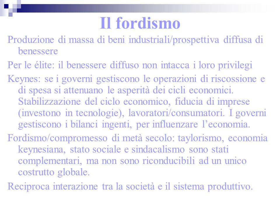 Il fordismo Produzione di massa di beni industriali/prospettiva diffusa di benessere.