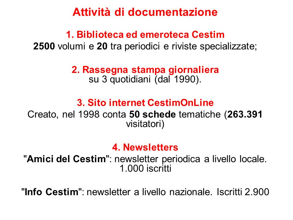 Attività di documentazione