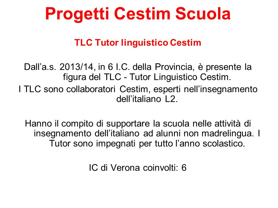 Progetti Cestim Scuola TLC Tutor linguistico Cestim