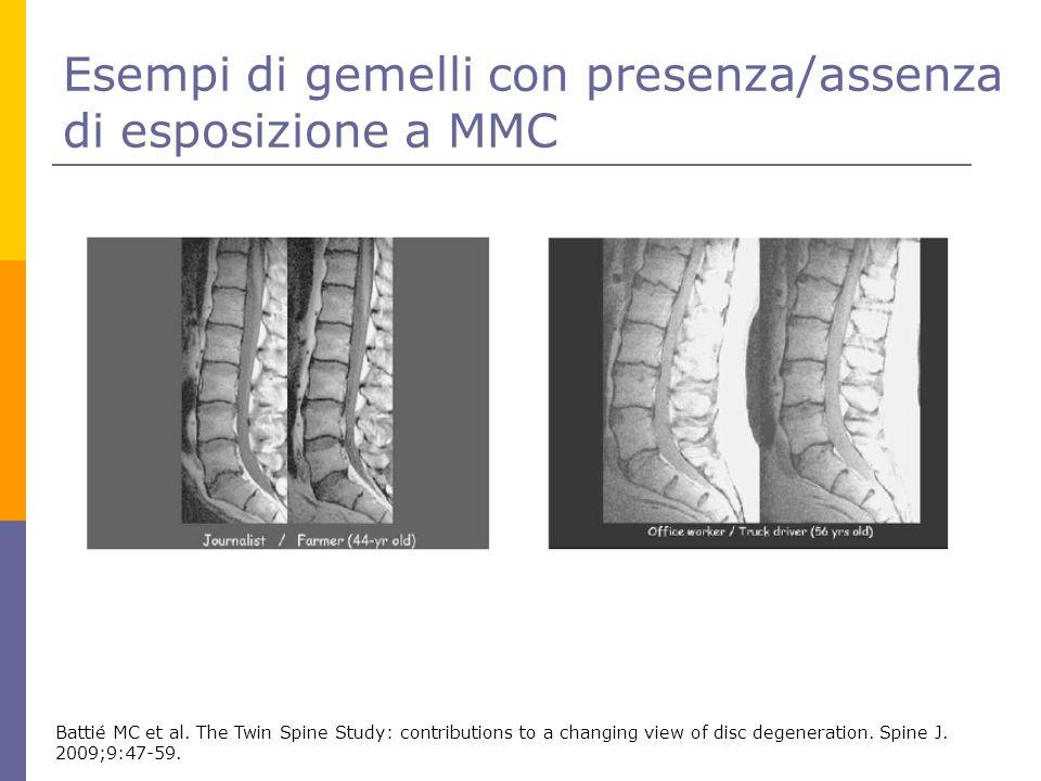 Esempi di gemelli con presenza/assenza di esposizione a MMC