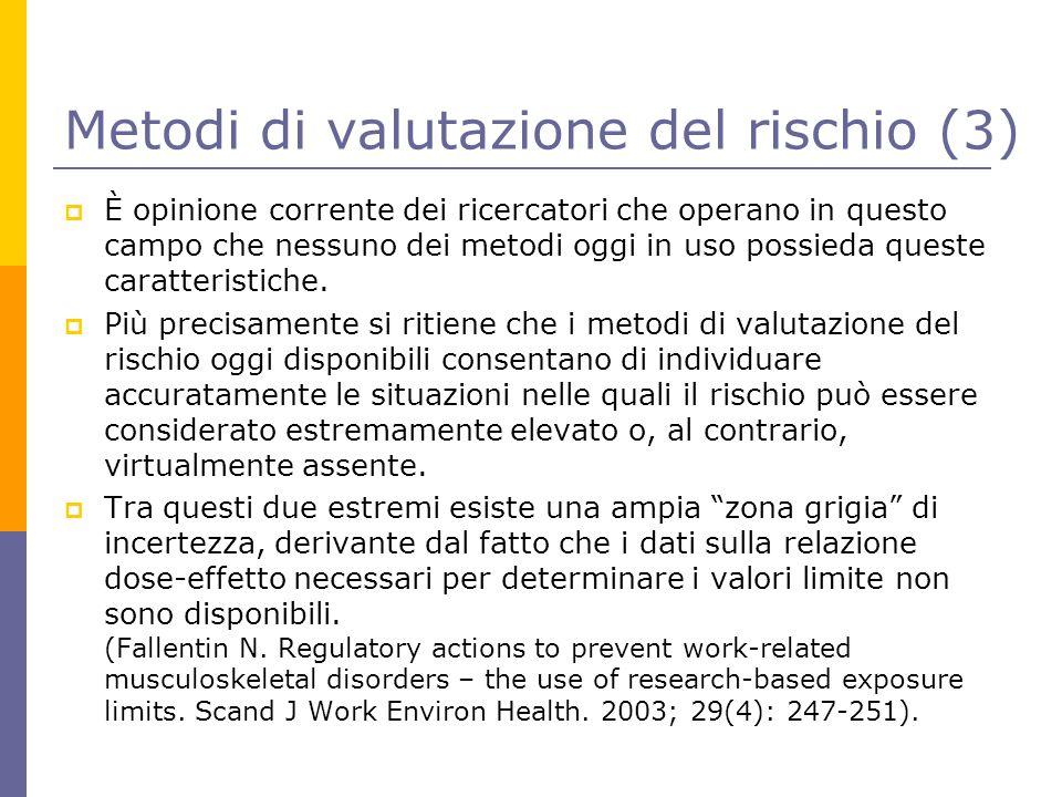 Metodi di valutazione del rischio (3)