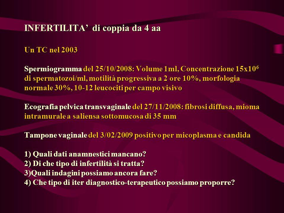 INFERTILITA' di coppia da 4 aa Un TC nel 2003 Spermiogramma del 25/10/2008: Volume 1ml, Concentrazione 15x106 di spermatozoi/ml, motilità progressiva a 2 ore 10%, morfologia normale 30%, 10-12 leucociti per campo visivo Ecografia pelvica transvaginale del 27/11/2008: fibrosi diffusa, mioma intramurale a saliensa sottomucosa di 35 mm Tampone vaginale del 3/02/2009 positivo per micoplasma e candida 1) Quali dati anamnestici mancano.