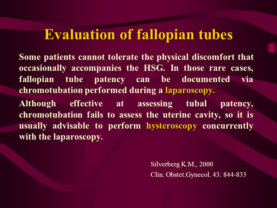 Evaluation of fallopian tubes