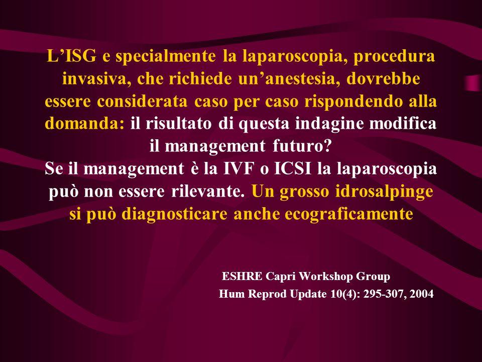 L'ISG e specialmente la laparoscopia, procedura invasiva, che richiede un'anestesia, dovrebbe essere considerata caso per caso rispondendo alla domanda: il risultato di questa indagine modifica il management futuro Se il management è la IVF o ICSI la laparoscopia può non essere rilevante. Un grosso idrosalpinge si può diagnosticare anche ecograficamente