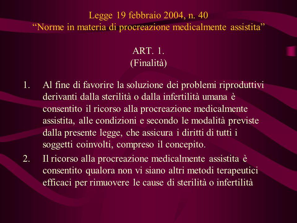 Legge 19 febbraio 2004, n. 40 Norme in materia di procreazione medicalmente assistita ART. 1. (Finalità)