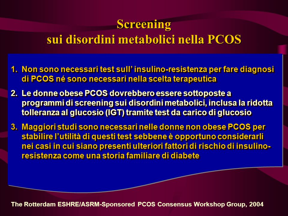 Screening sui disordini metabolici nella PCOS
