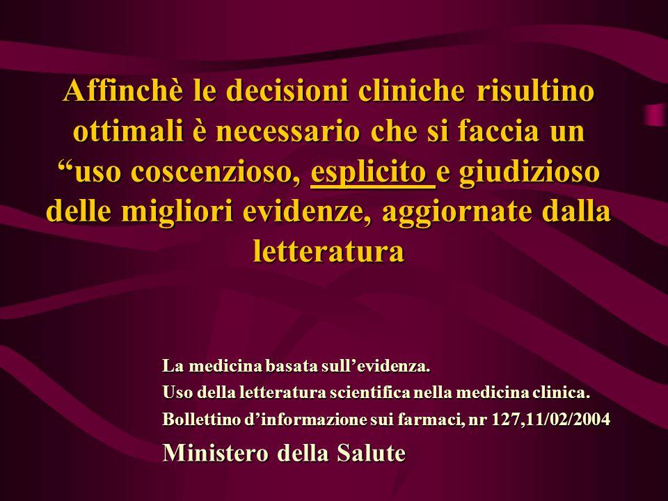 Affinchè le decisioni cliniche risultino ottimali è necessario che si faccia un uso coscenzioso, esplicito e giudizioso delle migliori evidenze, aggiornate dalla letteratura