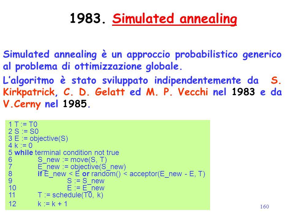 1983. Simulated annealing Simulated annealing è un approccio probabilistico generico al problema di ottimizzazione globale.