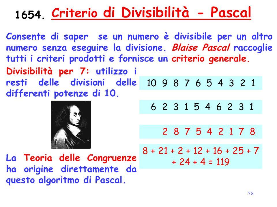 Criterio di Divisibilità - Pascal