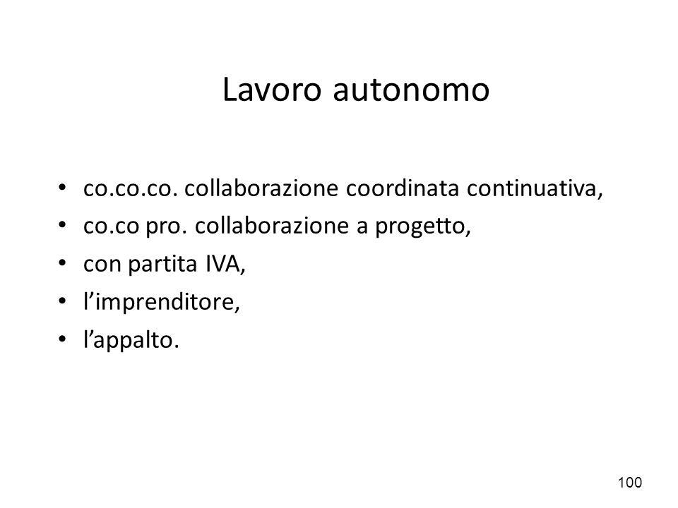 Lavoro autonomo co.co.co. collaborazione coordinata continuativa,