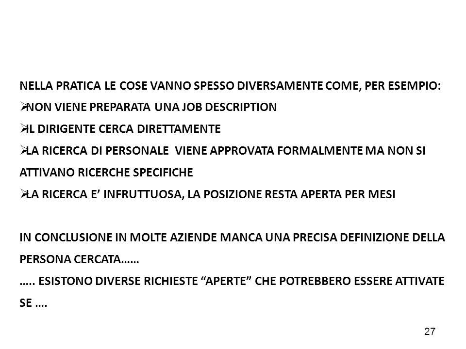 NELLA PRATICA LE COSE VANNO SPESSO DIVERSAMENTE COME, PER ESEMPIO: