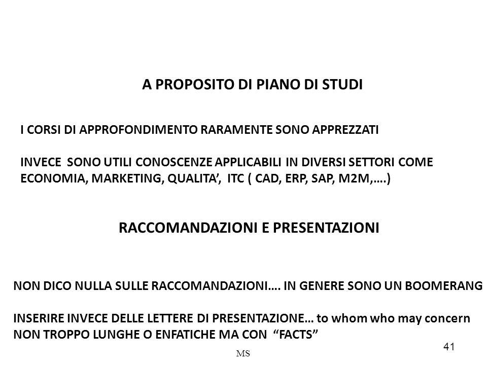 A PROPOSITO DI PIANO DI STUDI