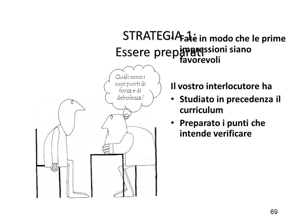 STRATEGIA 1: Essere preparati