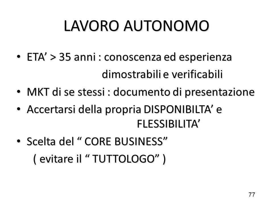 LAVORO AUTONOMO ETA' > 35 anni : conoscenza ed esperienza