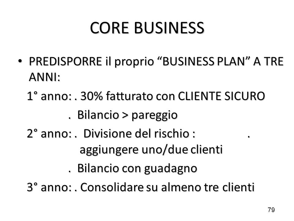 CORE BUSINESS PREDISPORRE il proprio BUSINESS PLAN A TRE ANNI: