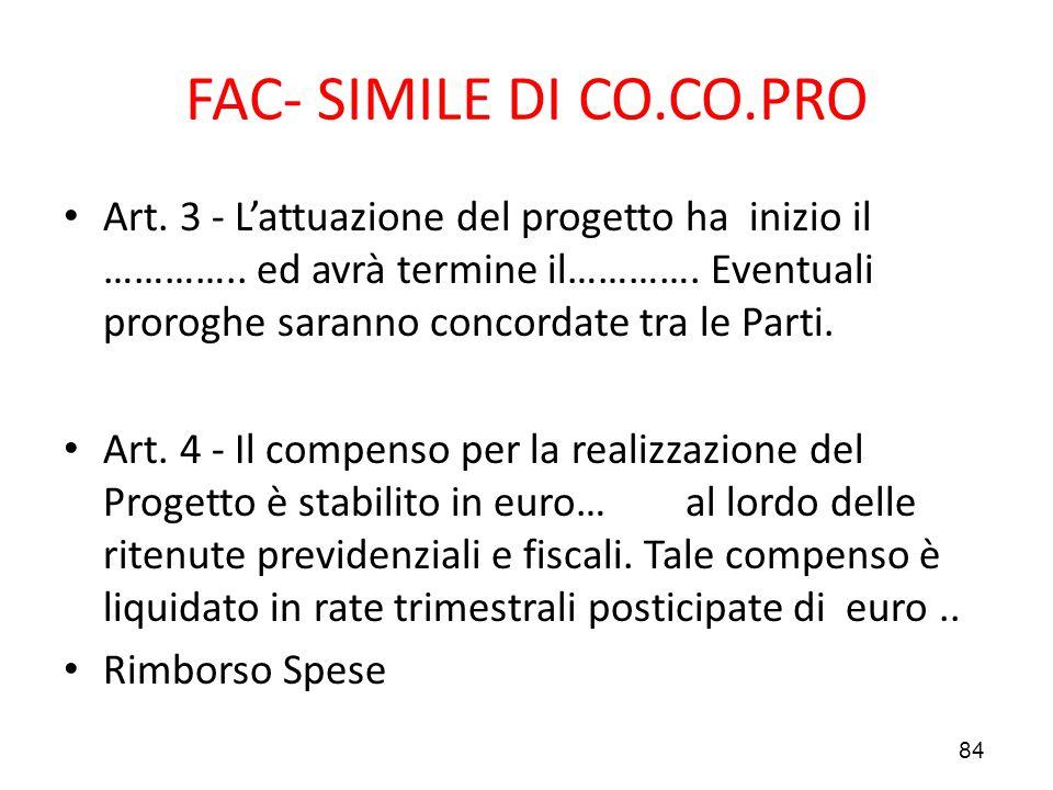 FAC- SIMILE DI CO.CO.PRO