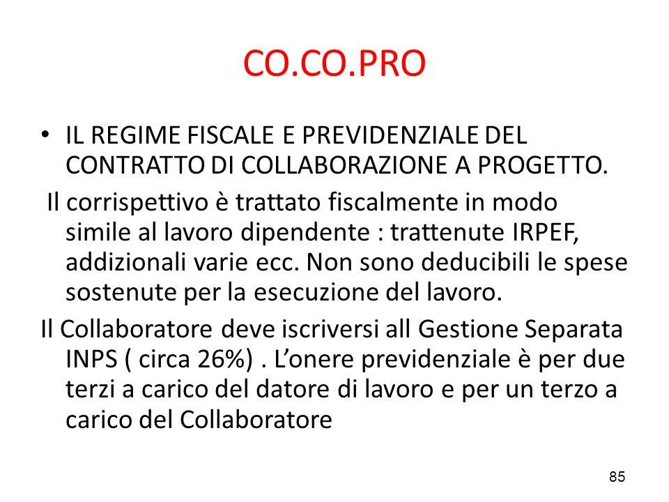 CO.CO.PRO IL REGIME FISCALE E PREVIDENZIALE DEL CONTRATTO DI COLLABORAZIONE A PROGETTO.