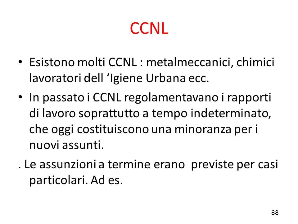 CCNL Esistono molti CCNL : metalmeccanici, chimici lavoratori dell 'Igiene Urbana ecc.