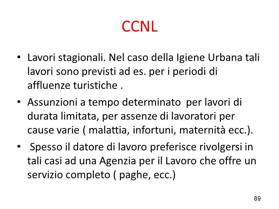 CCNL Lavori stagionali. Nel caso della Igiene Urbana tali lavori sono previsti ad es. per i periodi di affluenze turistiche .