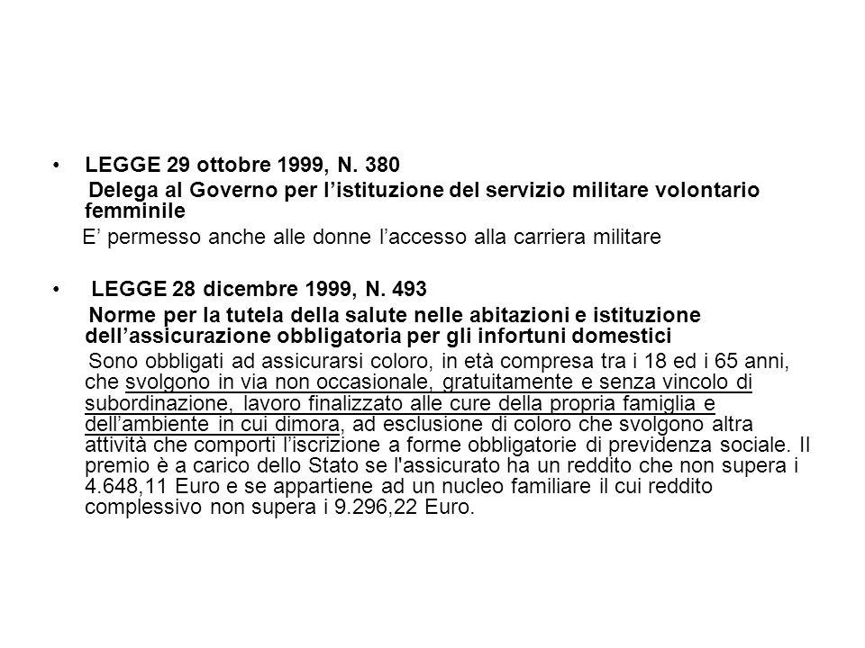 LEGGE 29 ottobre 1999, N. 380 Delega al Governo per l'istituzione del servizio militare volontario femminile.