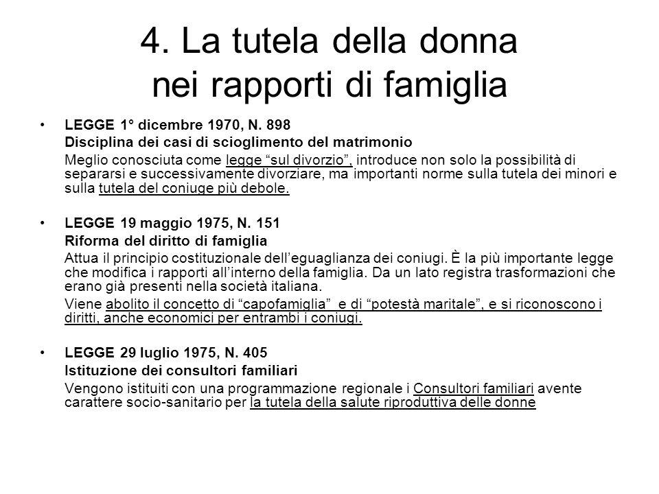 4. La tutela della donna nei rapporti di famiglia