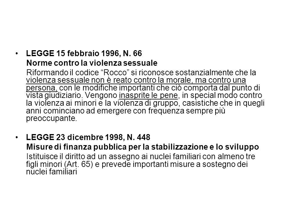 LEGGE 15 febbraio 1996, N. 66 Norme contro la violenza sessuale.