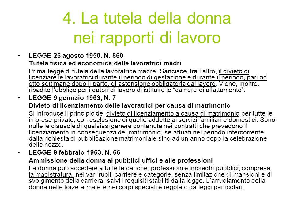 4. La tutela della donna nei rapporti di lavoro
