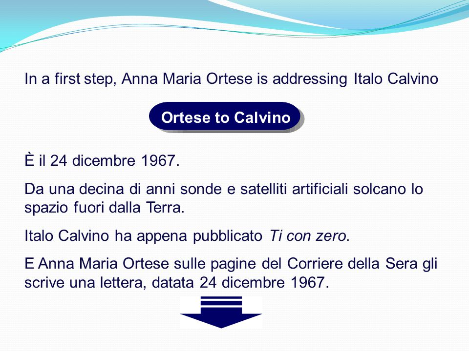 In a first step, Anna Maria Ortese is addressing Italo Calvino