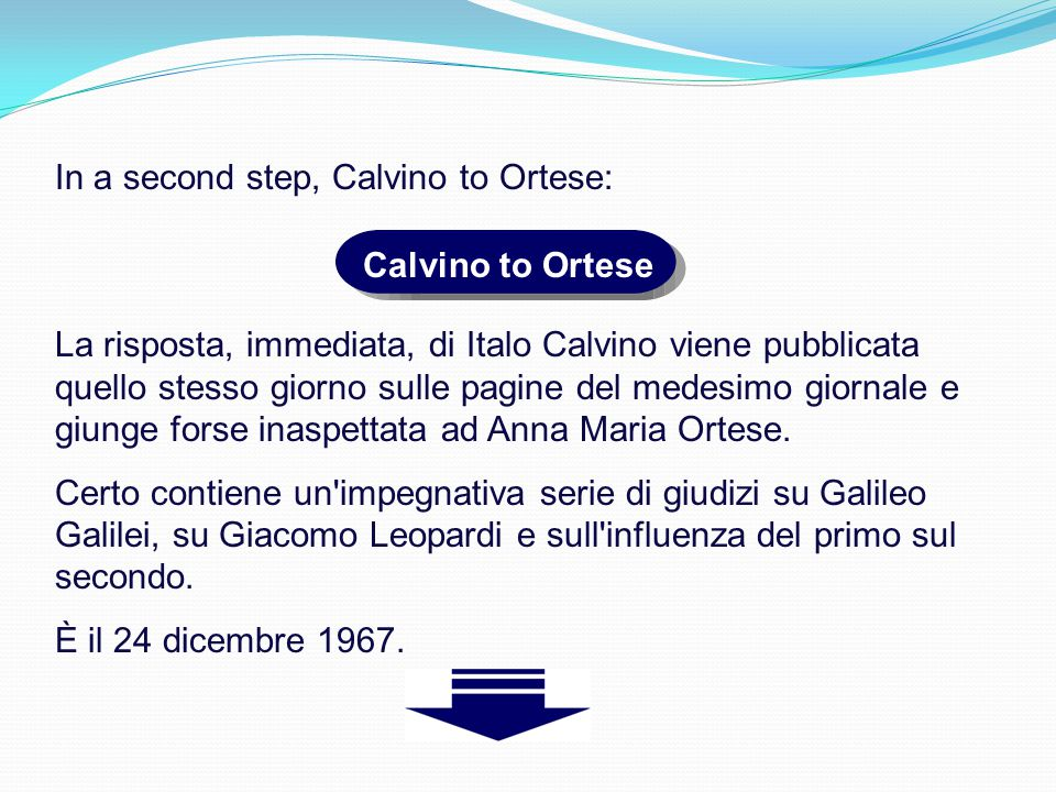 In a second step, Calvino to Ortese: