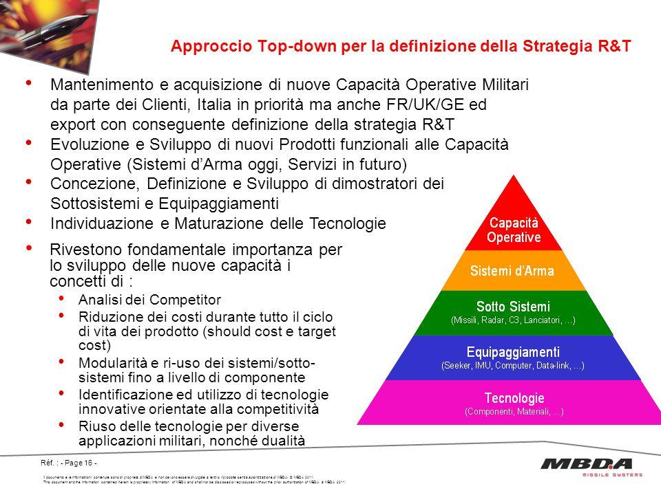 Approccio Top-down per la definizione della Strategia R&T