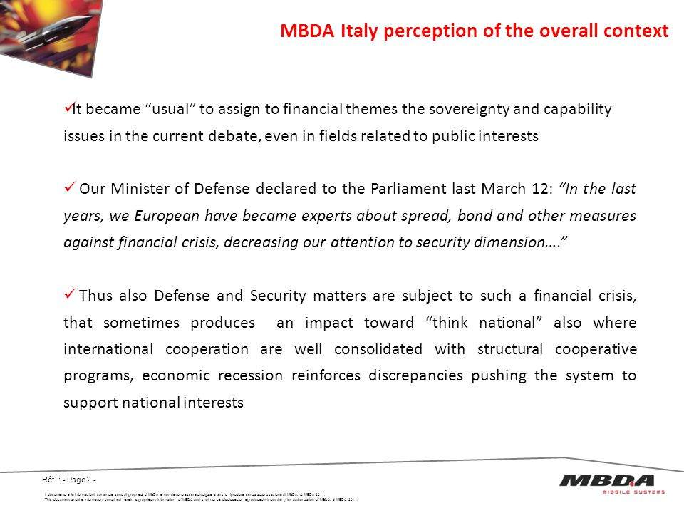 MBDA Italy perception of the overall context