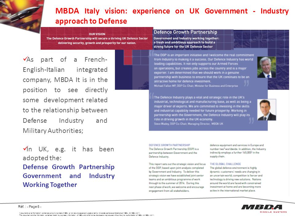 MBDA Italy vision: experience on UK Government - Industry approach to Defense