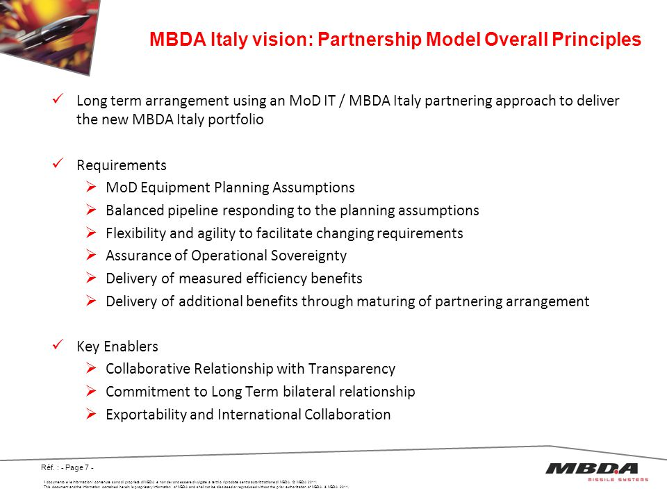 MBDA Italy vision: Partnership Model Overall Principles