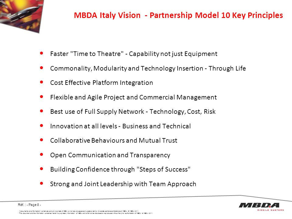 MBDA Italy Vision - Partnership Model 10 Key Principles