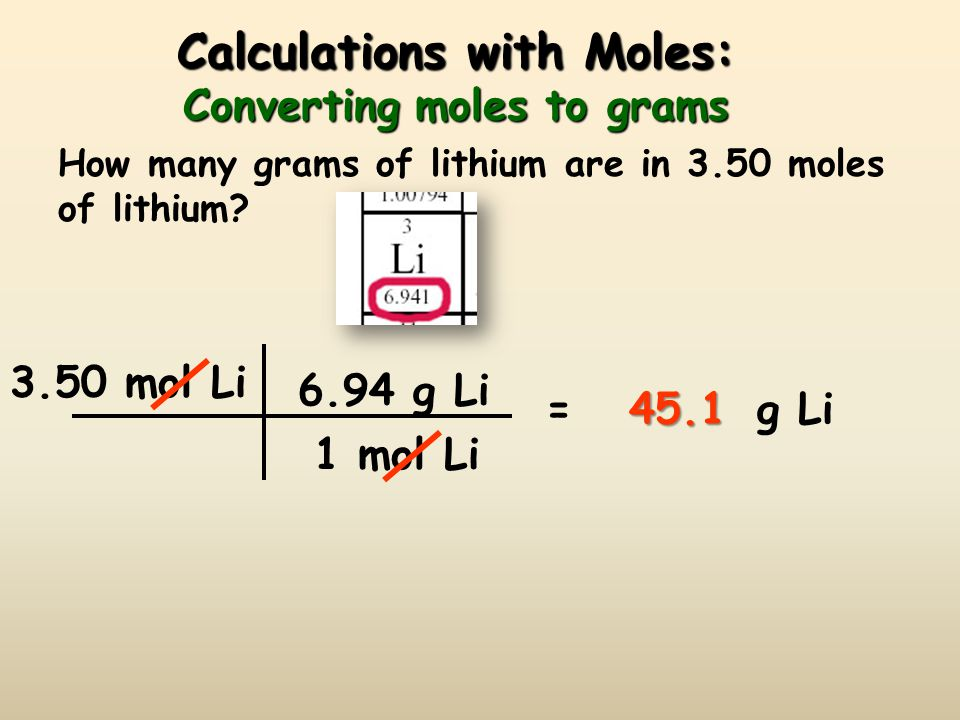 Calculations with Moles: Converting moles to grams