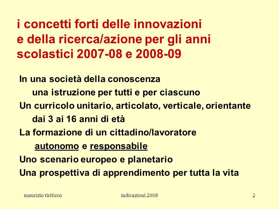 i concetti forti delle innovazioni e della ricerca/azione per gli anni scolastici 2007-08 e 2008-09
