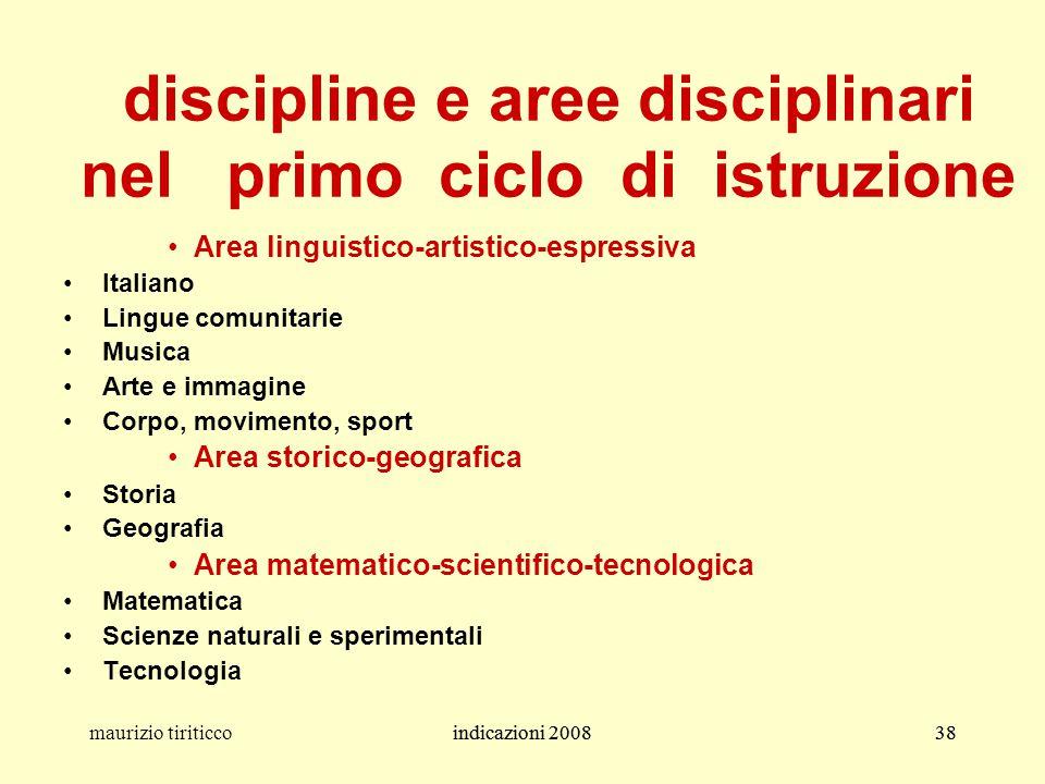 discipline e aree disciplinari nel primo ciclo di istruzione