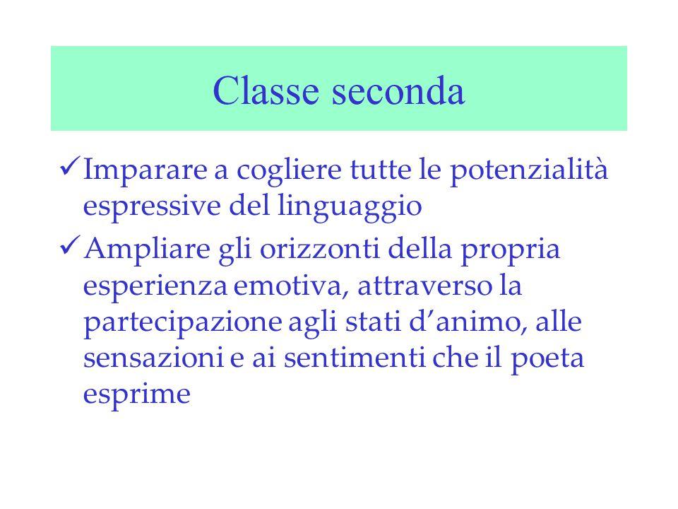 Classe seconda Imparare a cogliere tutte le potenzialità espressive del linguaggio.