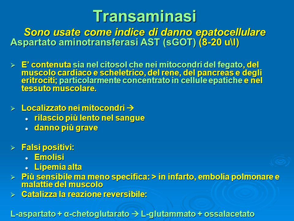 Transaminasi Sono usate come indice di danno epatocellulare