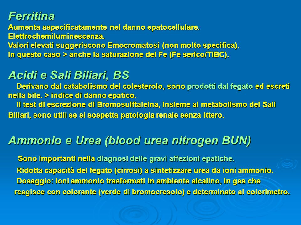 Ammonio e Urea (blood urea nitrogen BUN)